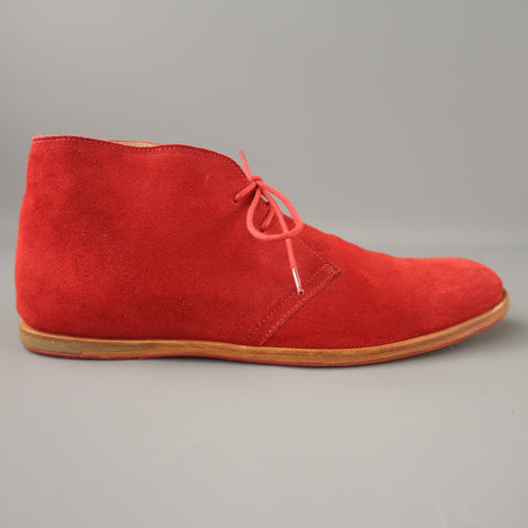 OPENING CEREMONY Size 11 Red Solid Suede Lace Up Boots