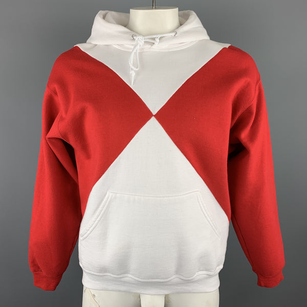 OPENING CEREMONY Size L Red & White Color Block Cotton Hoodie Pullover Sweater