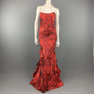 OSCAR DE LA RENTA 8 Red Floral Silk Taffeta Pointed Busiter Ruffle Back Gown