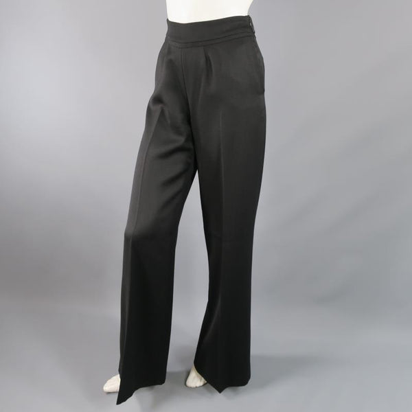 OSCAR DE LA RENTA Size 2 Black Wool  High Rise Wide Leg Ribbon Waist Dress Pants