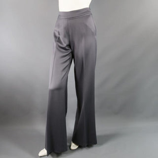 OSCAR DE LA RENTA Size 2 Silver Grey Wool High Rise Wide Leg Ribbon Dress Pants