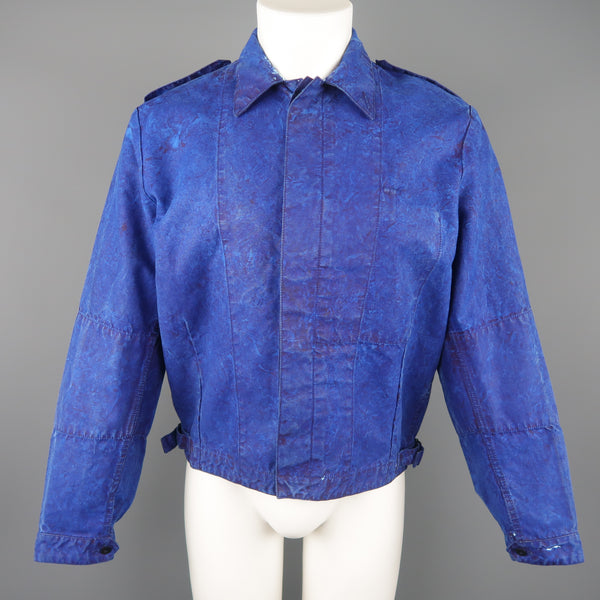 OUR LEGACY 38 Blue Paint Effect Cotton Epaulet Bomber Jacket