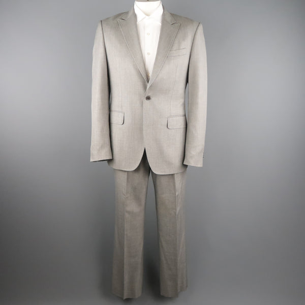 PACO RABANNE 44 Silver Grey Solid Wool Blend Top Stitch Peak Lapel Suit