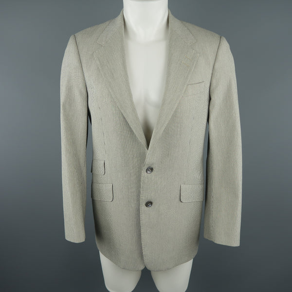 PAUL SMITH 36 Gray Pinstripe Cotton Blend Sport Coat