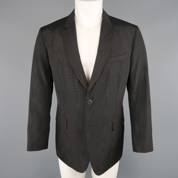 PAUL SMITH 42 Black Moire Taffeta Skinny Peak Lapel Sport Coat / Jacket