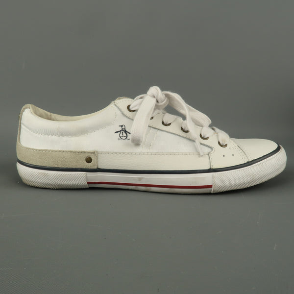 PENGUIN Size 8 White Solid Nylon Lace Up Sneakers