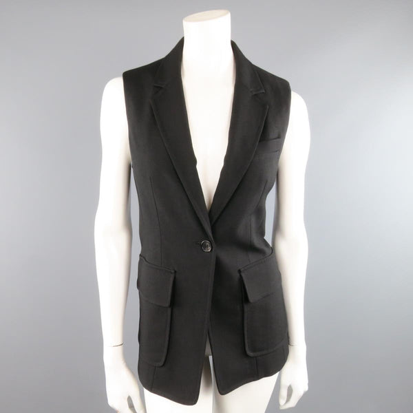 PHILLIP LIM Size 6 Black Virgin Wool Blend Notch Lapel Blazer Vest