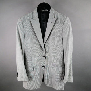 PRADA 38 Regular Black & White Houndstooth Wool Sport Coat