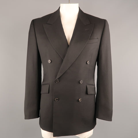 PRADA 42 Black Solid Wool / Mohair Twill Peak Lapel Double Breasted Sport Coat