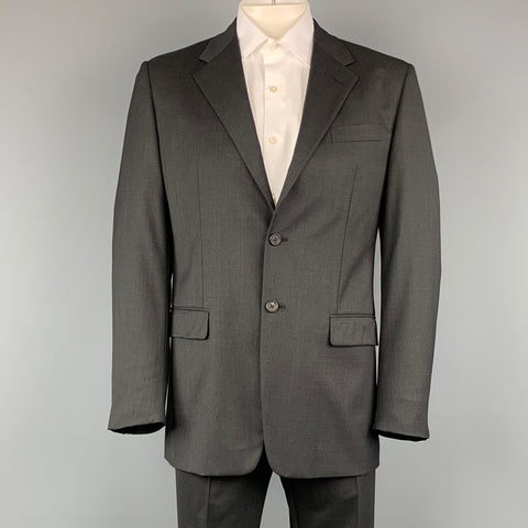 PRADA 42 Regular Charcoal Solid Wool 35 32 Notch Lapel  Suit
