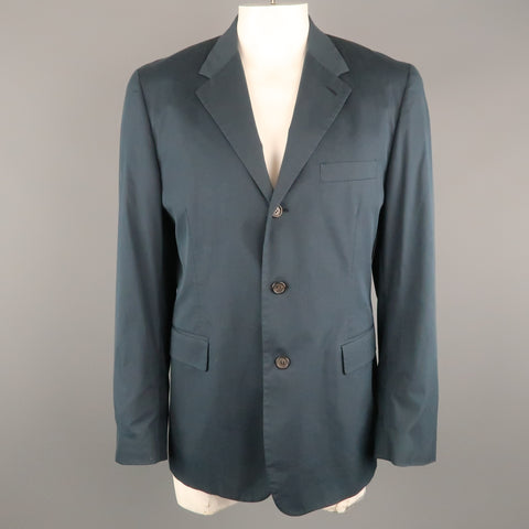 PRADA 44 Regular Navy Solid Cotton Blend Notch Lapel  Sport Coat