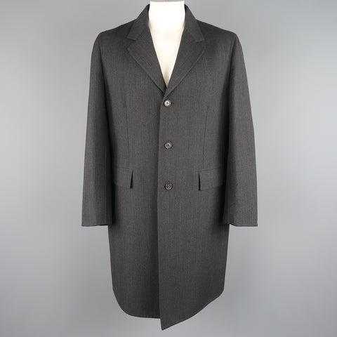 PRADA 46 Charcoal Glenplaid Wool Notch Lapel Coat