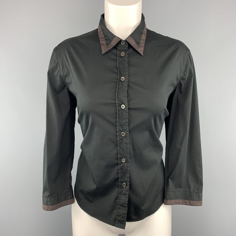 PRADA Size 10 Black Stretch Cotton Brown Trim Blouse