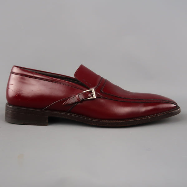 PRADA Size 11 Burgundy Solid Leather Square Toe Buckle Slip On Loafers