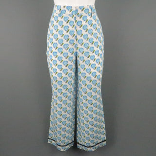 PRADA Size 2 White & Blue Silk Heart Print Casual Pants