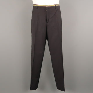 PRADA Size 34 Black Stripe Wool Flat Front Dress Pants