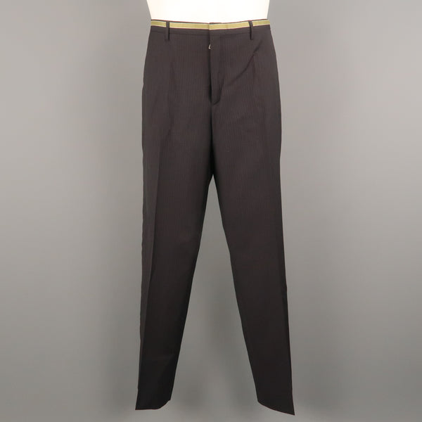 PRADA Size 34 Black Stripe Wool 32 Flat Front Dress Pants