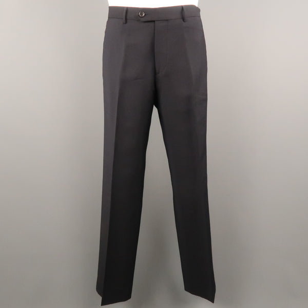 PRADA Size 34 Navy Solid Mohair / Wool 31 Zip Fly Dress Pants