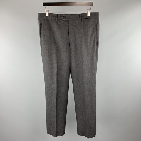 PRADA Size 34 x 30 Charcoal Solid Wool Zip Fly Dress Pants