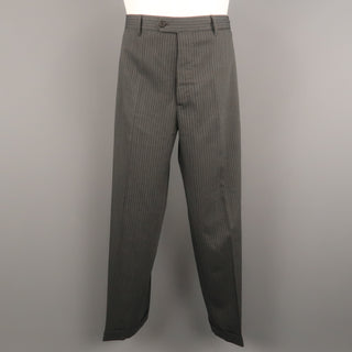 PRADA Size 36 Gray Stripe Wool Blend 31 Button Fly Dress Pants