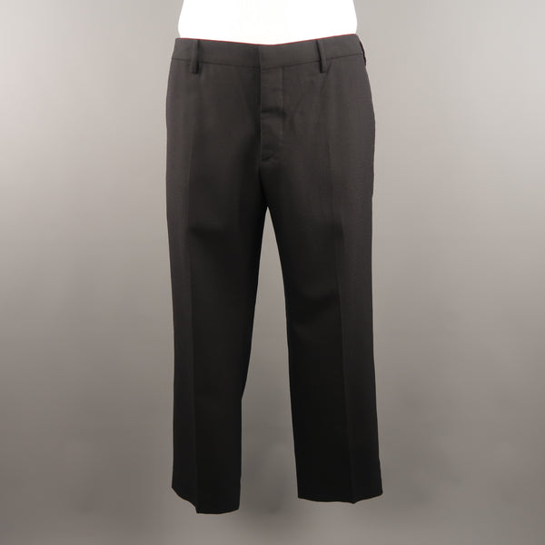 PRADA Size 38 x 28 Navy Checkered Wool Dress Pants