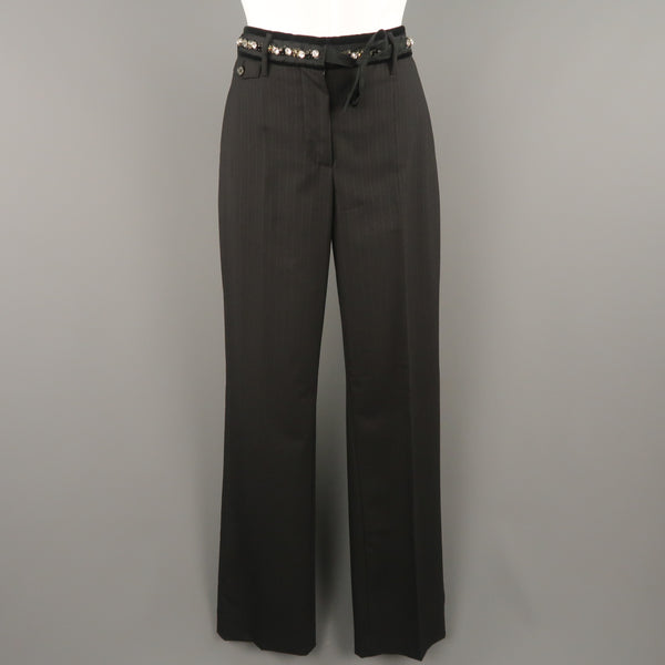 PRADA Size 4 Black Striped Virgin Wool  Rhinestone Waistband Dress Pants