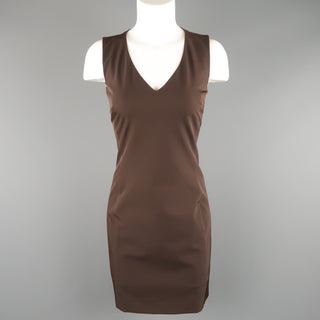 PRADA Size 4 Brown Twill V Neck Sleeveless Shift Dress