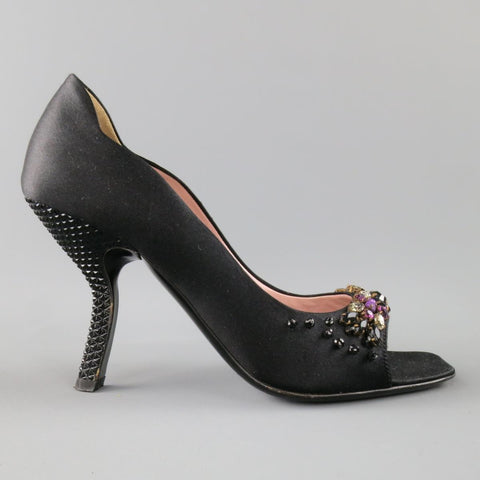 PRADA Size 6 Black Silk Purple Crystal Peep Toe Curved Stud Heel Pumps