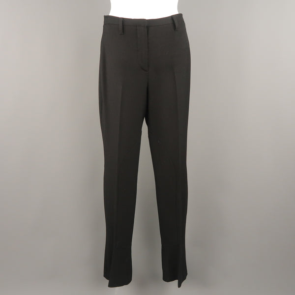 PRADA Size 6 Black Twill Riding Patch Dress Pants