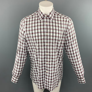 PRADA Size M Multi-Color Plaid Cotton Button Up Long Sleeve Shirt