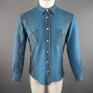 PRINTED ARTWORKS Size M Blue Snake Print Wool Blend Long Sleeve Shirt