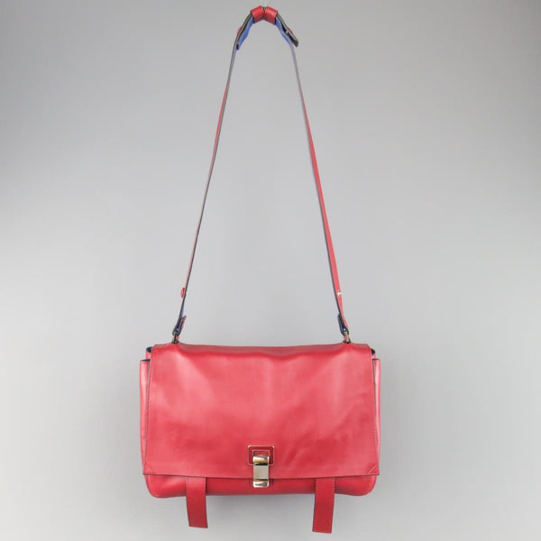 PROENZA SCHOULER Red & Blue Color Block Leather Shoulder Bag