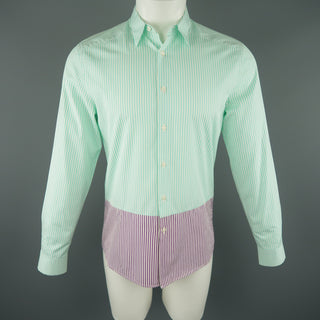 PS by PAUL SMITH Size S Green & White Stripe Cotton Long Sleeve Shirt