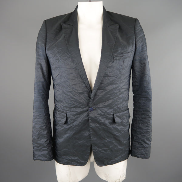 RAF SIMONS 40 Regular Navy Metallic Polyester Blend Sport Coat