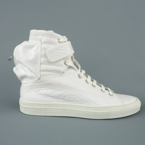 RAF SIMONS Size 7 White Crocodile Embossed Leather Astronaut Boot Sneakers