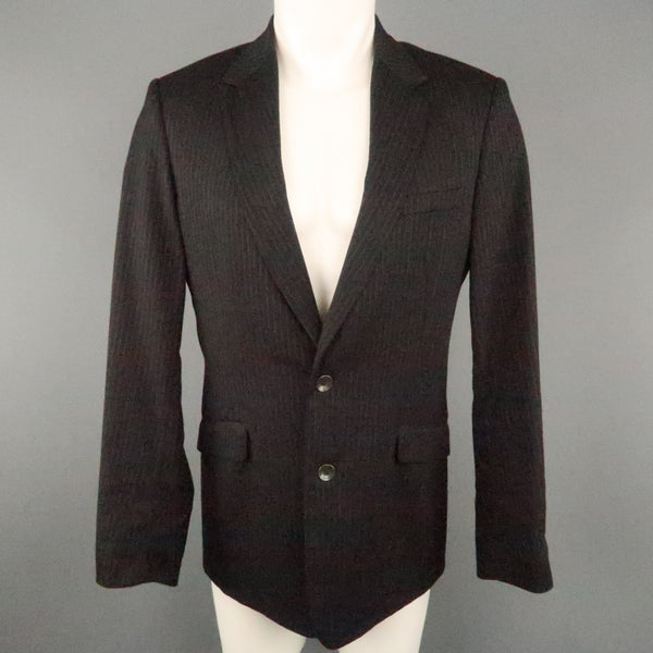 RAG & BONE 38 Black Stripe Wool Blend Notch Lapel  Sport Coat