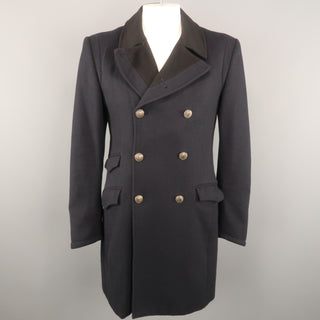 RAG & BONE Chest Size 42 Navy Solid Wool / Nylon Double Breasted Coat