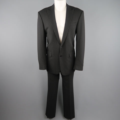 RALPH LAUREN 40 Black Pinstripe Wool Peak Lapel Suit