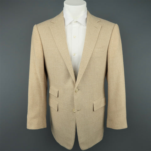RALPH LAUREN 40 Khaki & Tan Glenplaid Cashmere Notch Lapel Sport Coat