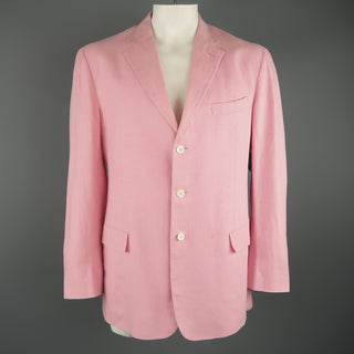 RALPH LAUREN 44 Long Pink Linen Notch Lapel 3 Button Sport Coat