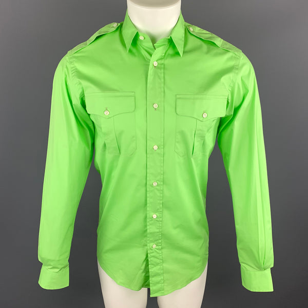RALPH LAUREN Black Label S Lime Green Cotton Patch Pockets Long Sleeve Shirt