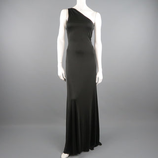 RALPH LAUREN COLLECTION Size 10 Black Silk Knit One Shoulder Strap Gown