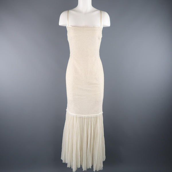 RALPH LAUREN COLLECTION Size 12 Cream Beaded Drop Waist Tulle Gown