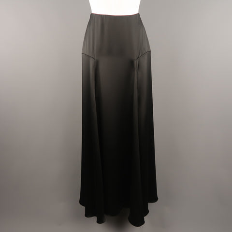 a3670b1062 RALPH LAUREN COLLECTION Size 2 Black Silk A Line Maxi Skirt