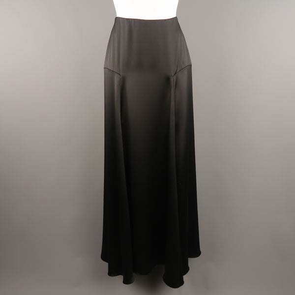 RALPH LAUREN COLLECTION Size 2 Black Silk A Line Maxi Skirt