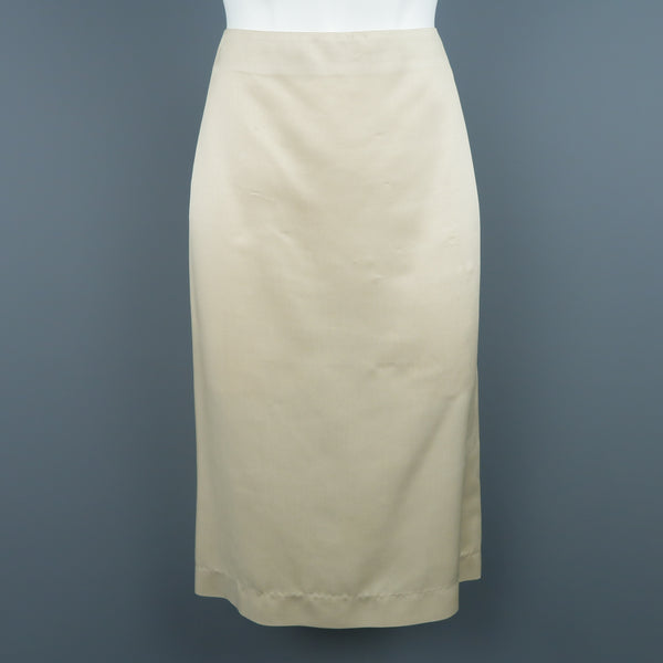 RALPH LAUREN COLLECTION Size 6 Light Beige Silk Twill Pencil Skirt
