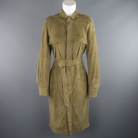 RALPH LAUREN COLLECTION Size 8 Olive Green Suede Safari Dress