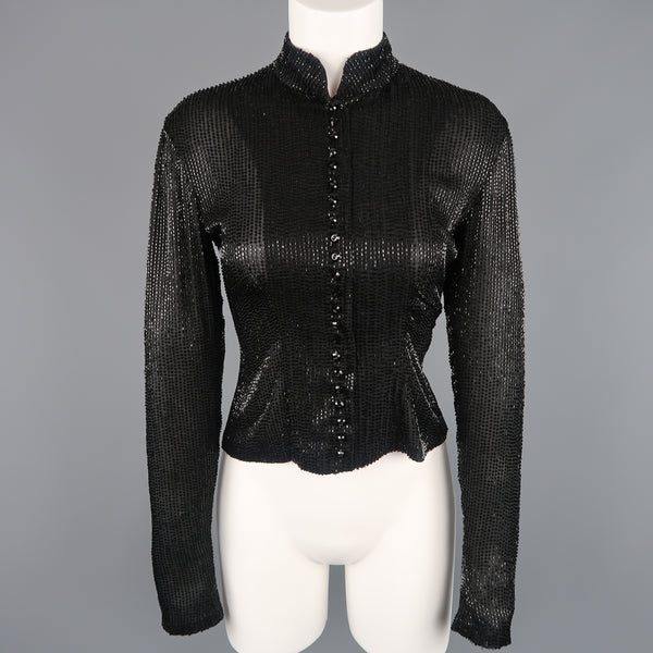 RALPH LAUREN Collection Size 6 Black Beaded Silk Nehru Collar Evening Blouse