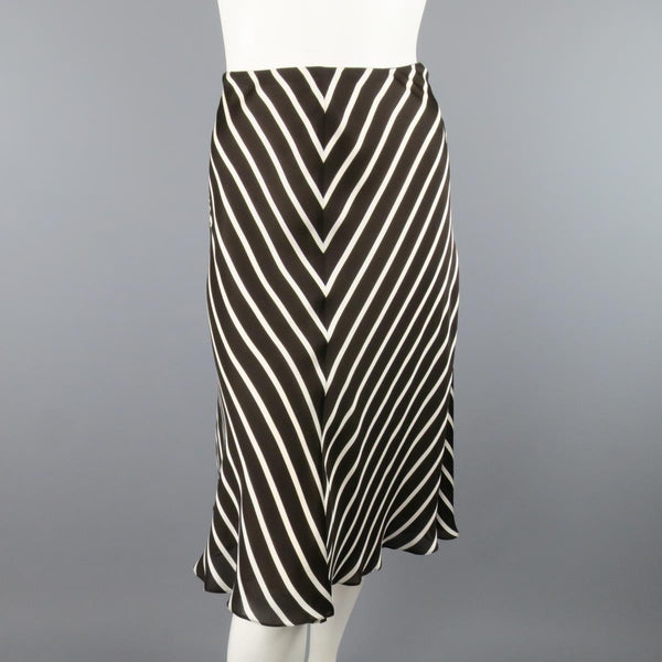 RALPH LAUREN Collection Size 8 Brown & White Striped Silk A Line Skirt