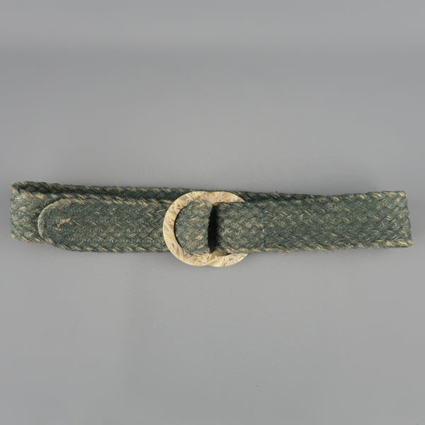 RALPH LAUREN Green M Braided Rope Double Engraved Hoop Belt